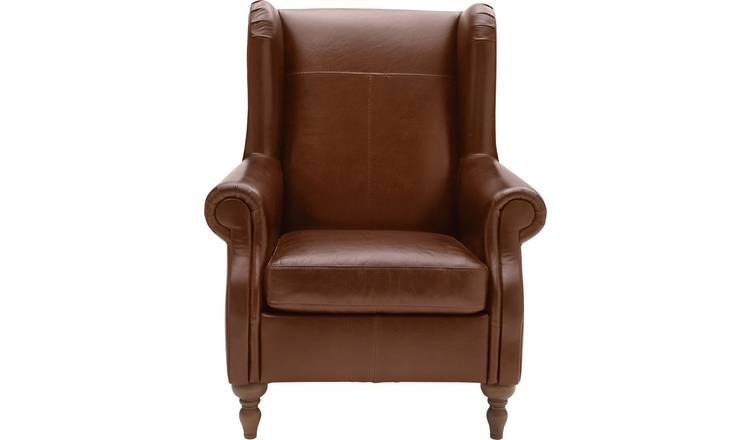Argos Home Argyll Leather High Back Chair - Tan