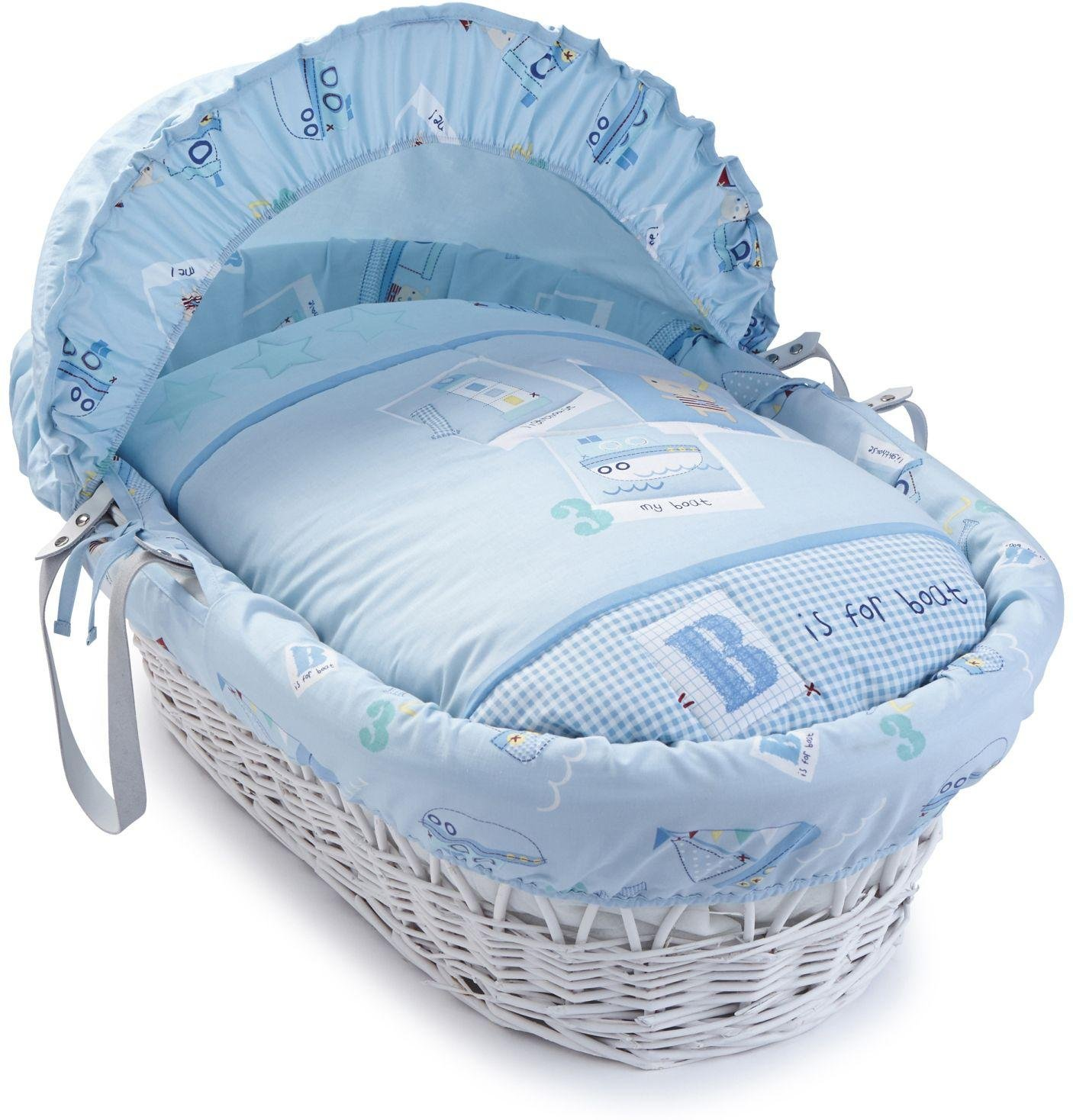 Image of Clair de Lune Ahoy White Wicker Moses Basket.