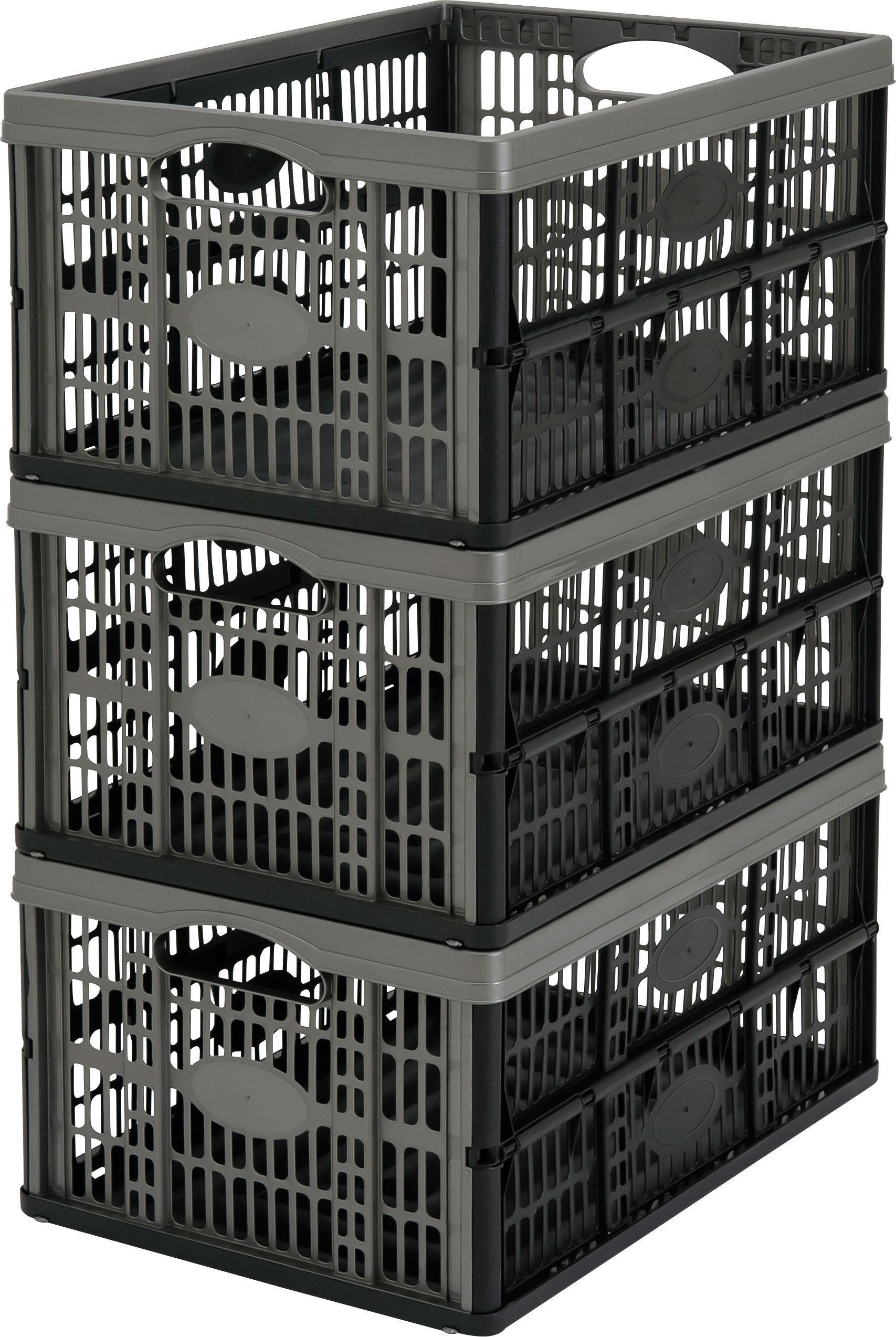 Argos Home 32 Lt Plastic Folding Storage Crates - Set of 3