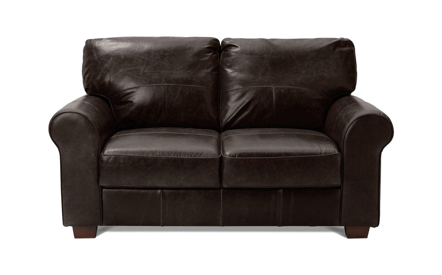 Habitat Salisbury 2 Seater Leather Sofa - Dark Brown