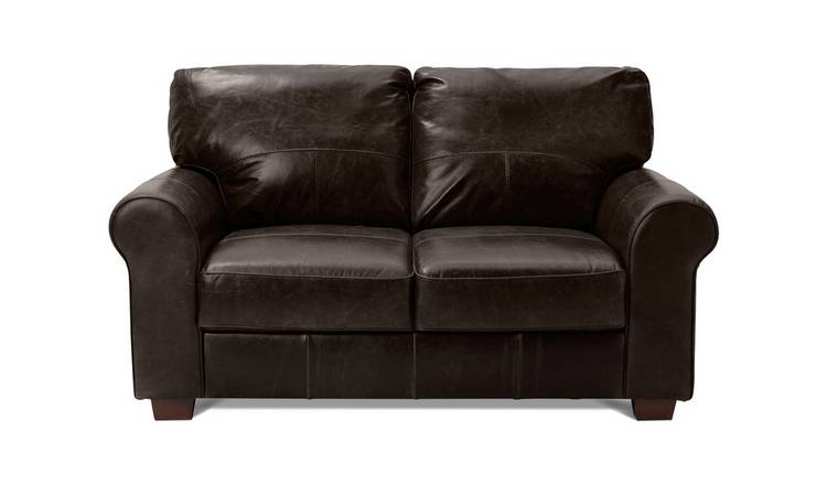 Buy Argos Home Salisbury 2 Seater Leather Sofa - Dark Brown | Sofas | Argos