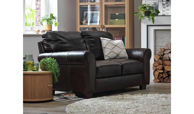 Buy Argos Home Salisbury 2 Seater Leather Sofa Dark Brown   Sofas   Argos