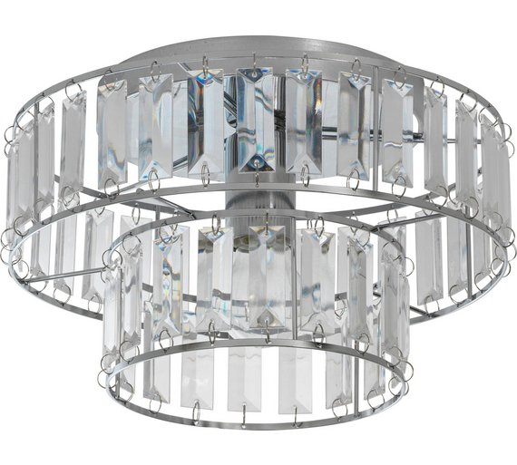 Buy argos home gisela 2 tier glass ceiling fitting chrome argos home gisela 2 tier glass ceiling fitting chrome aloadofball