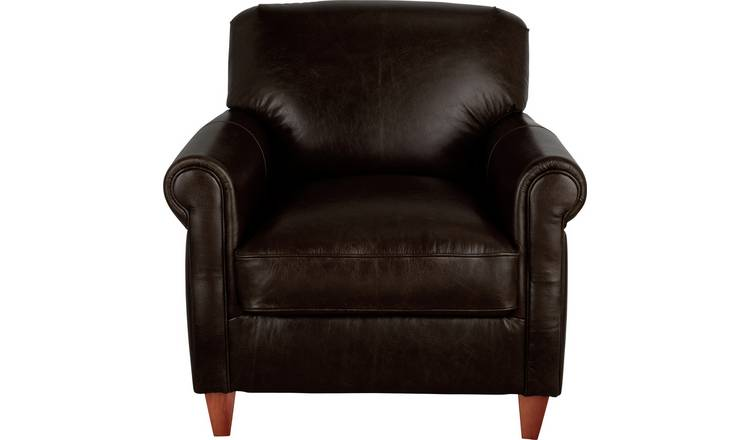 Argos Home Kingsley Leather Accent Chair -  Dark Brown