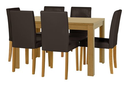 HOME Penley Oak Veneer Ext Dining Table & 6 Chairs - Choc