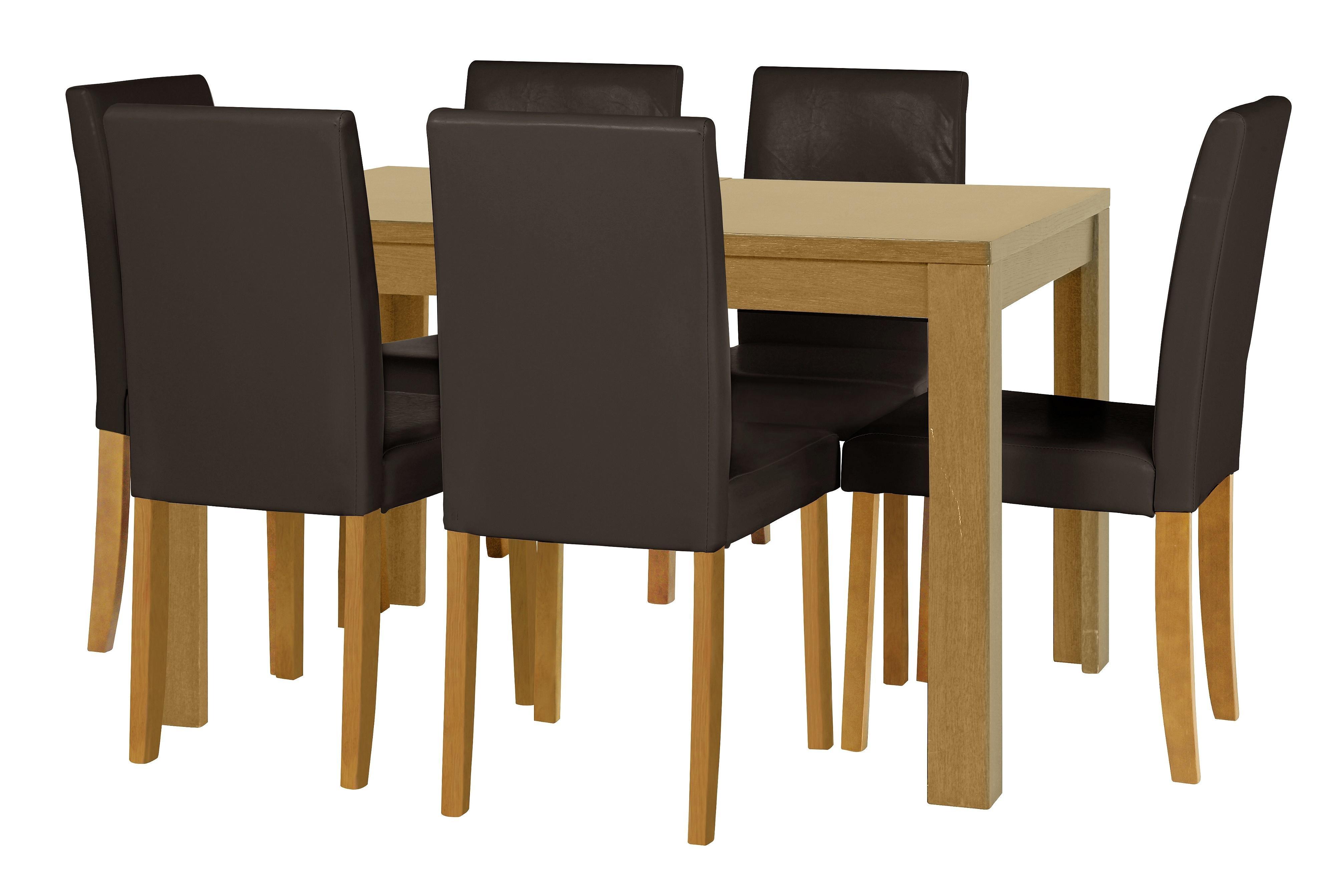 Buy HOME Penley Oak Veneer Ext Dining Table   Chairs - Choc at