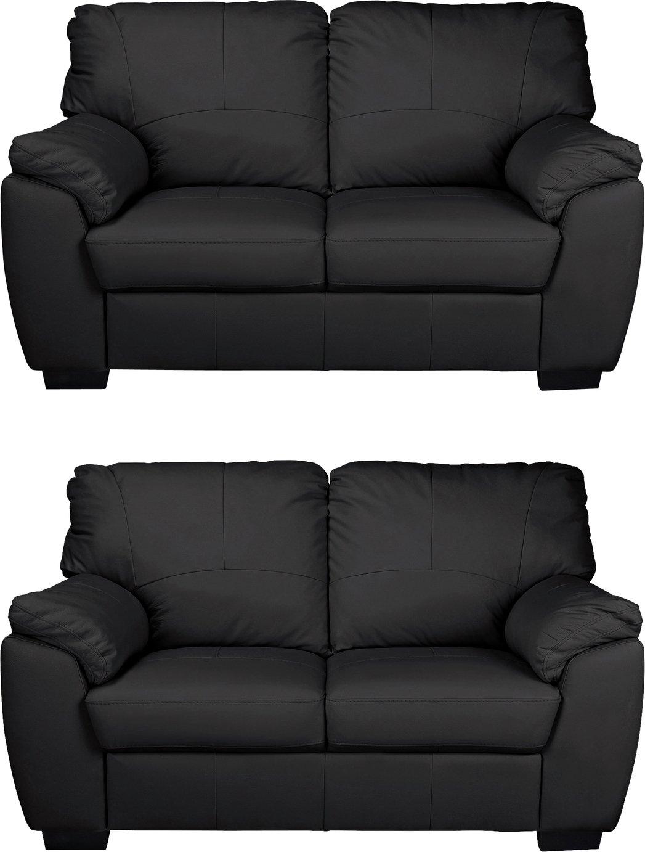 Argos Home Milano Pair of Leather 2 Seater Sofa - Black