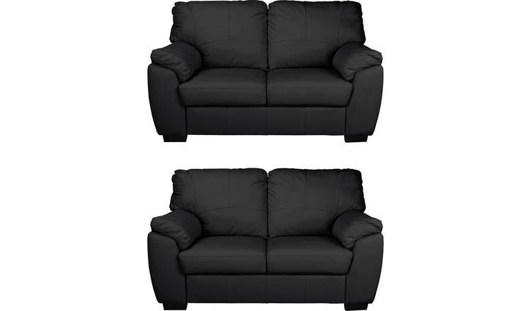 Surprising Buy Argos Home Milano Pair Of Leather 2 Seater Sofa Black Sofa Sets Argos Bralicious Painted Fabric Chair Ideas Braliciousco