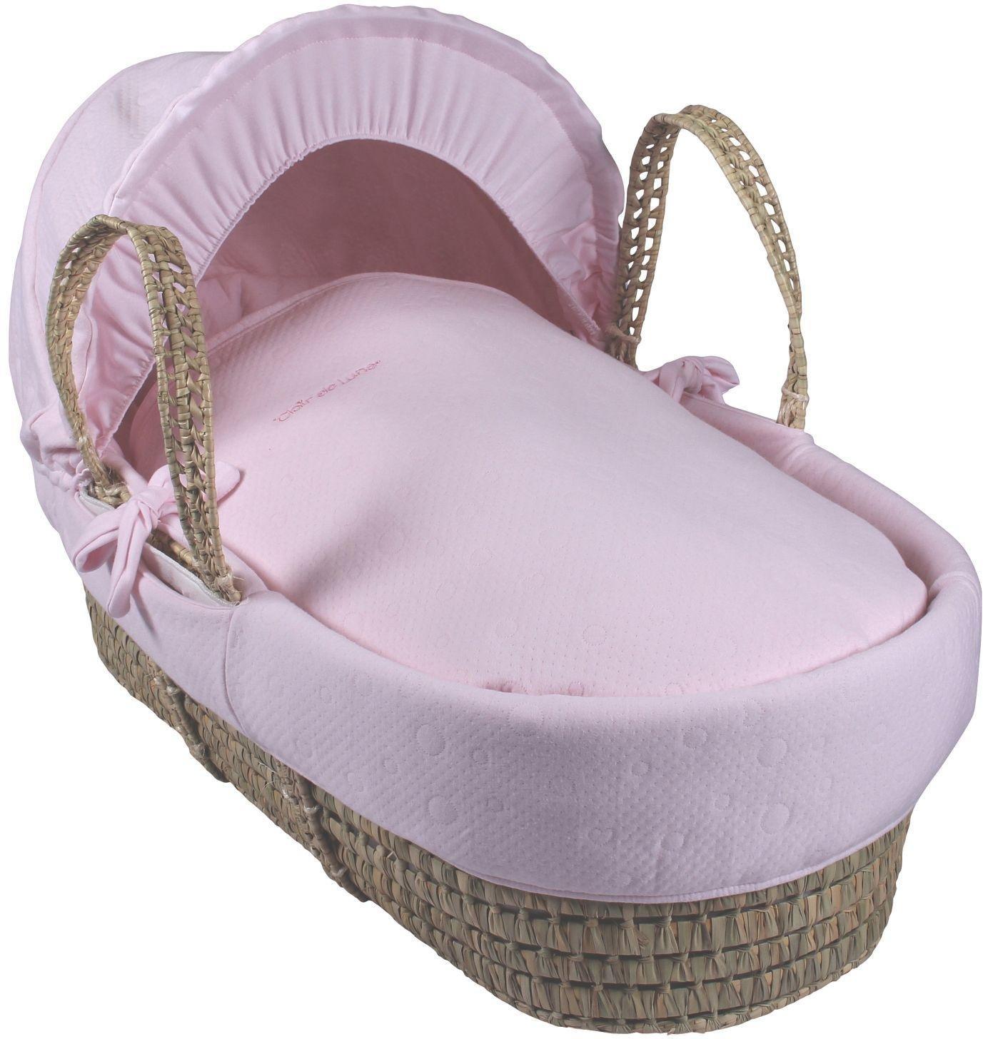 Clair de Lune Cotton Candy Palm Moses Basket - Pink.