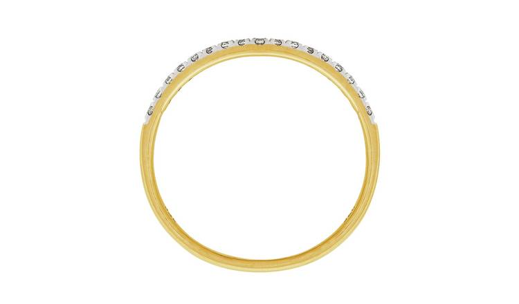 Revere 9ct Gold 0.15ct Diamond Claw Set Eternity Ring - H