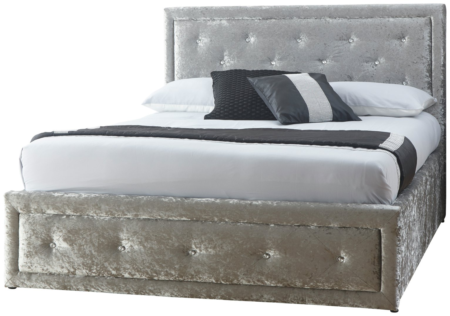 GFW Hollywood Crushed Velvet Ottoman Double Bed Frame