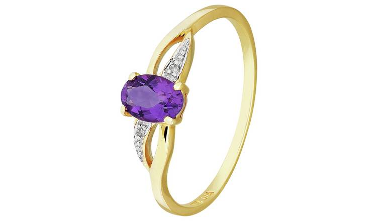 Revere 9ct Gold Amethyst & Diamond Shoulder Ring - N