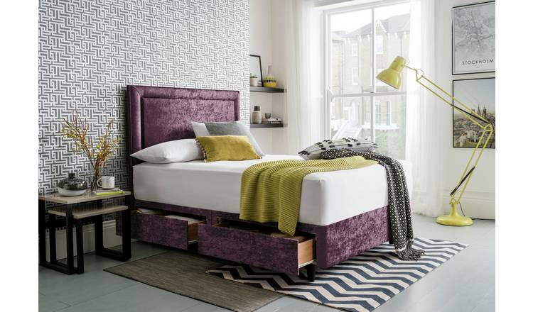 Silentnight Toulouse Velvet Superking 2 Drawer Divan -Purple