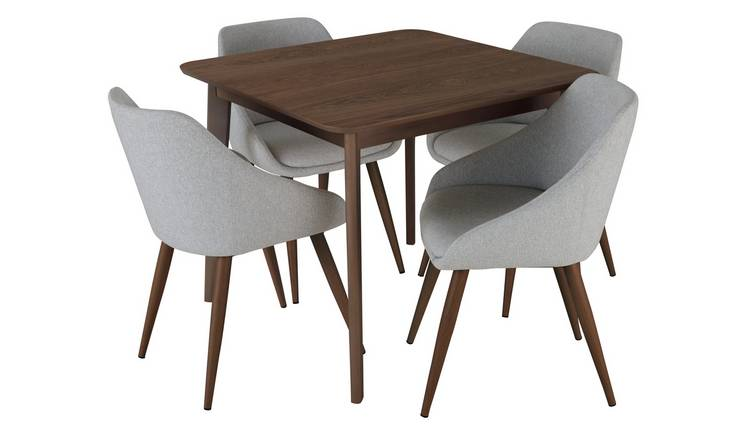 Argos Home Skandi Walnut Veneer Dining Table & 4 Grey Chairs