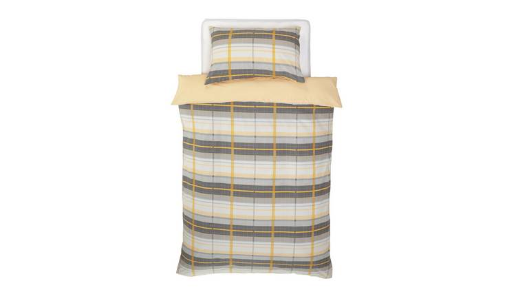 Argos Home Mustard and Grey Check Bedding Set - Single
