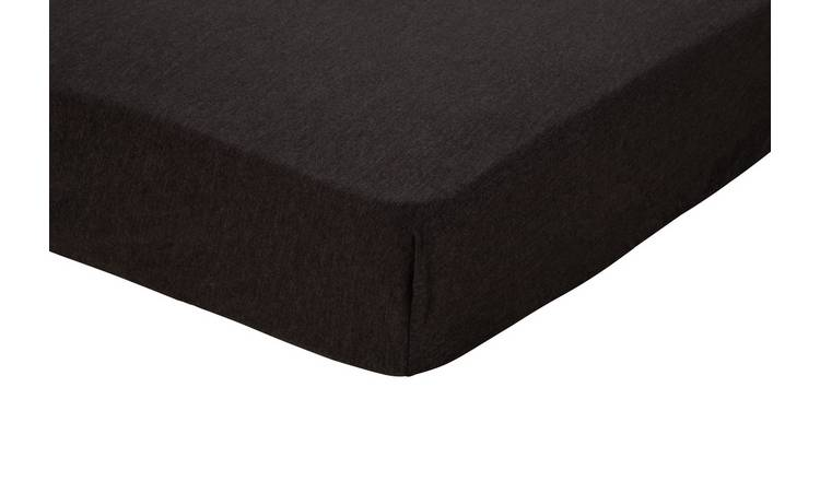 Argos Home Grey Jersey Marl Fitted Sheet - Single
