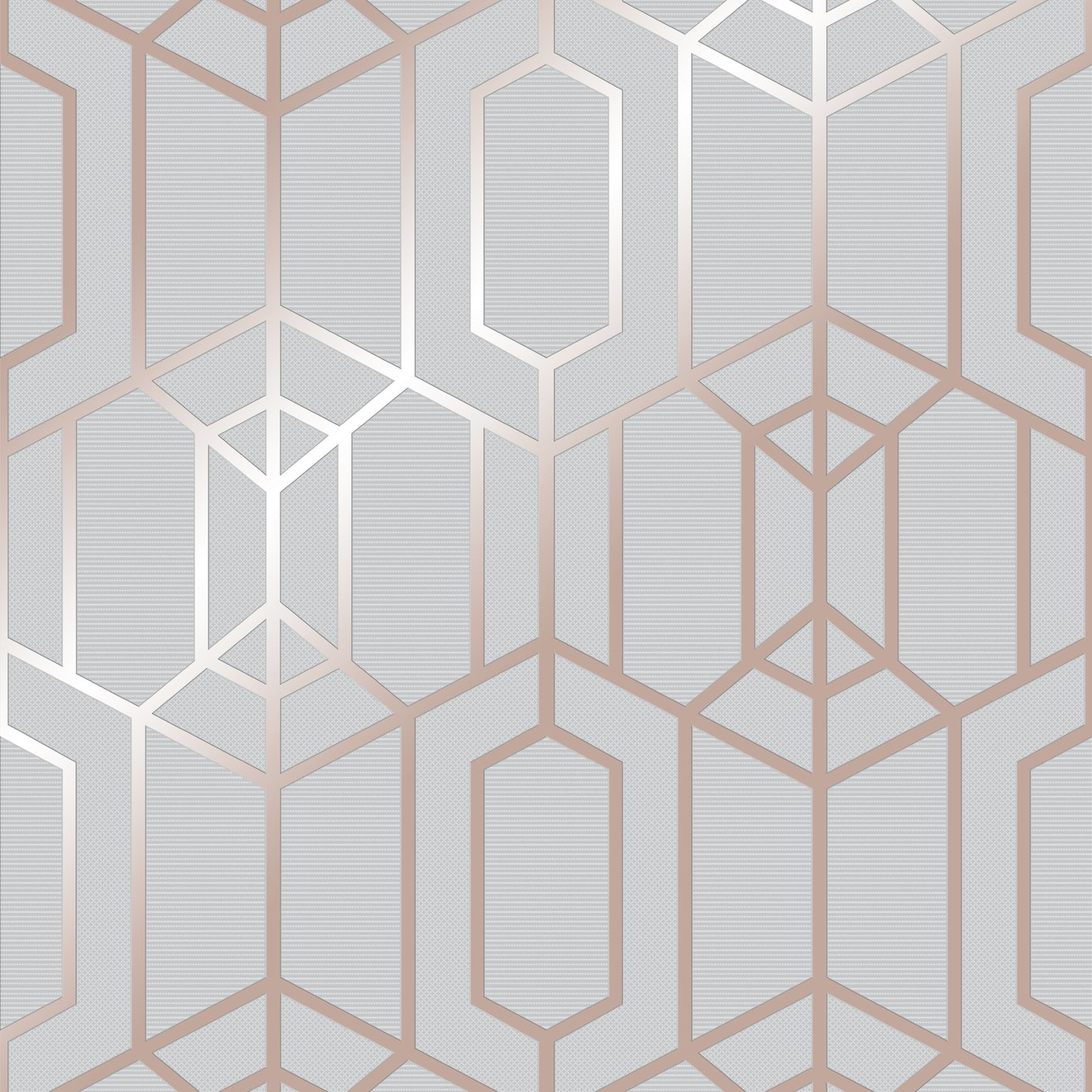 Superfresco Easy Albany Grey & Rose Gold Geometric Wallpaper