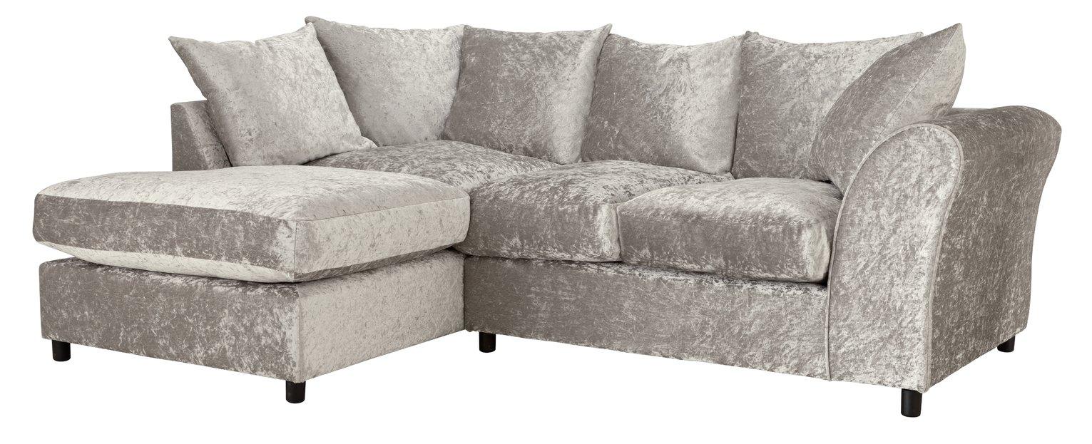 Argos Home Megan Left Corner Fabric Sofa - Silver