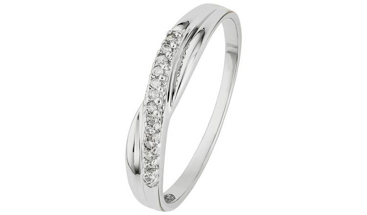 Revere 9ct White Gold Diamond Accent Eternity Ring - SizeJ