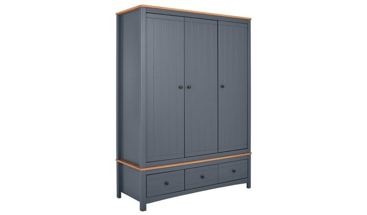 Argos Home Bournemouth 3 Door 3 Drawer Wardrobe - Dark Grey