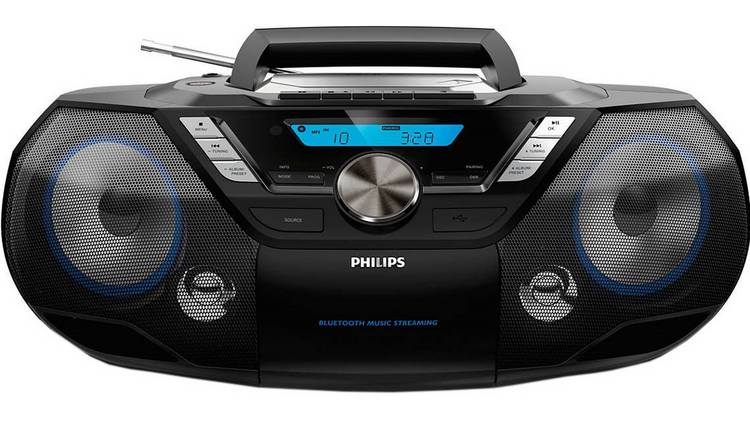 Philips AZB798 Boombox Bluetooth CD Cassette Player – Black
