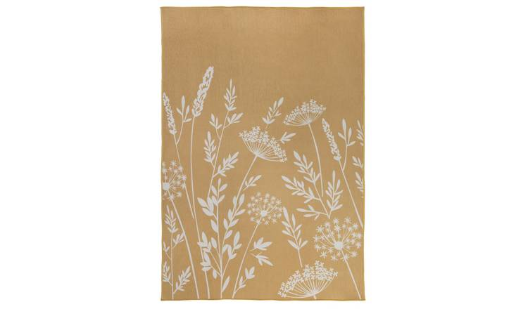 Argos Home Country Floral Rug - 170x120cm - Mustard