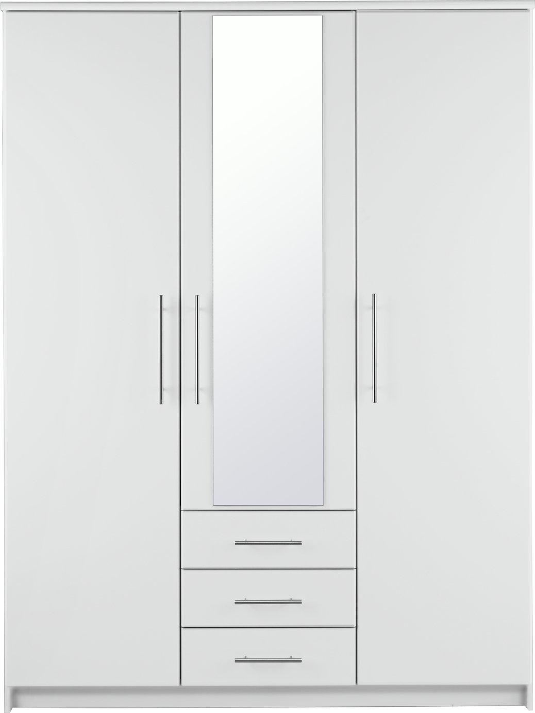 Argos Home Normandy 3 Door 3 Drawer Mirror Wardrobe - White