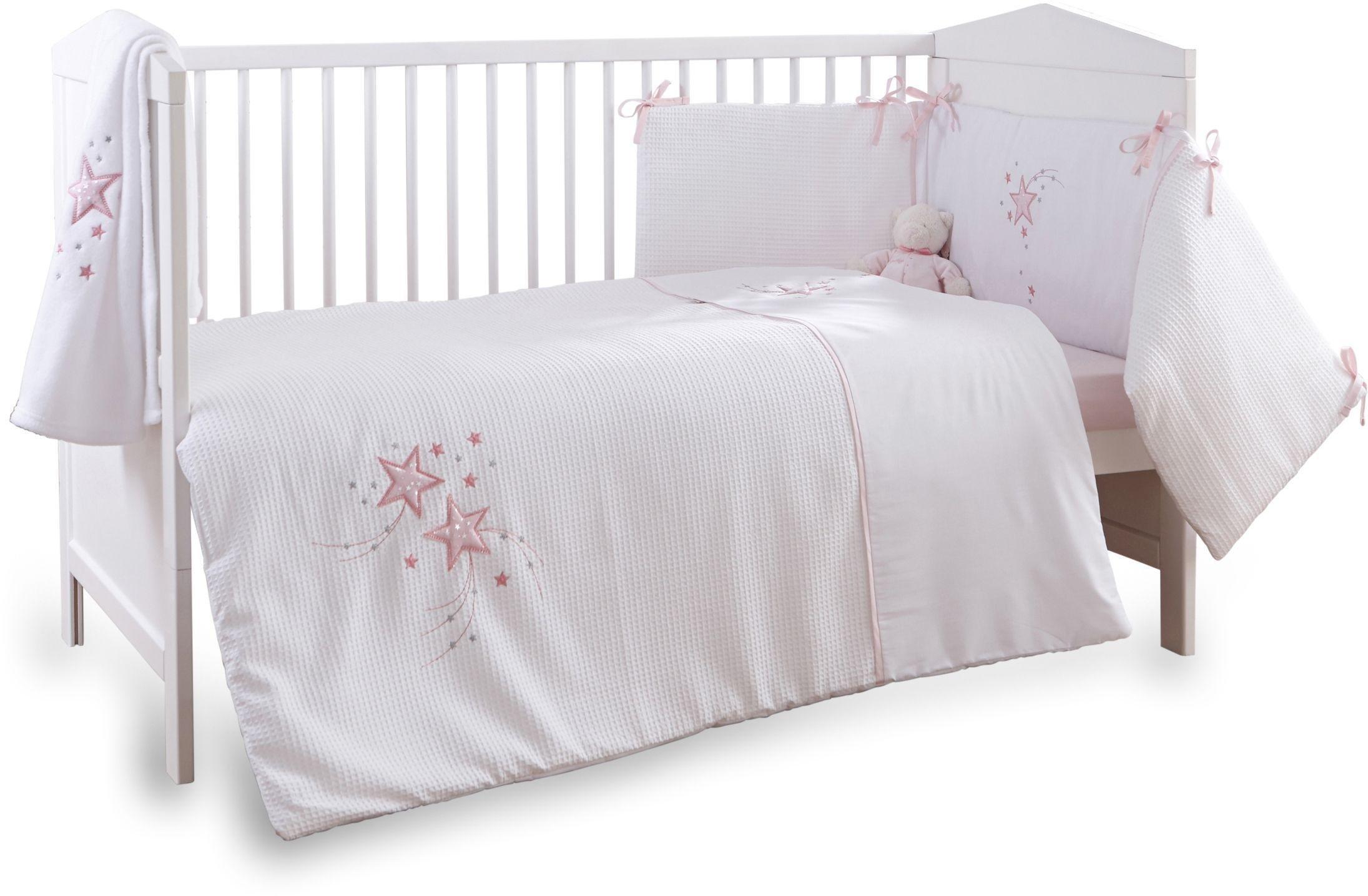 Clair de Lune Stardust 3 Piece Cot/Cot Bed Set - Pink Trim
