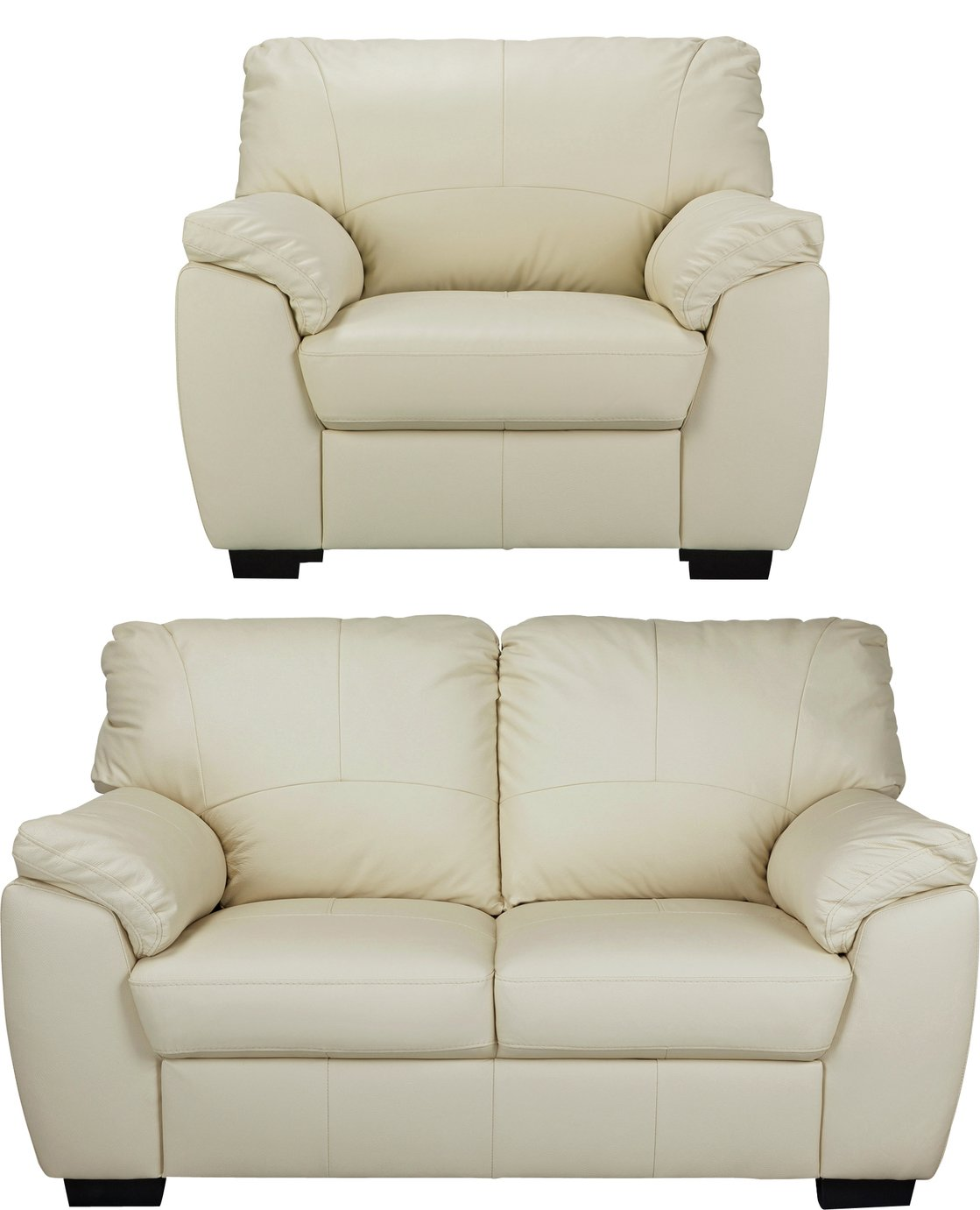 Argos Home Milano Leather Chair and 2 Seater Sofa - Ivory