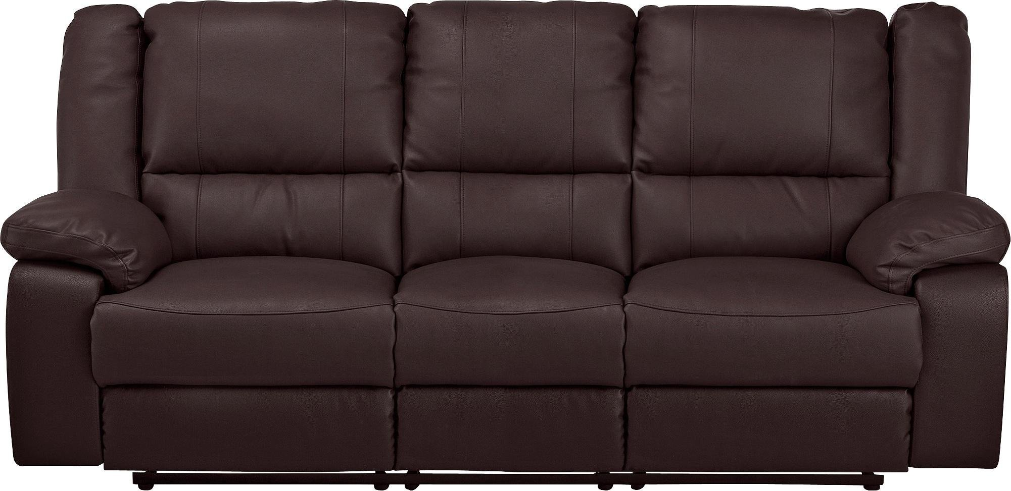 Argos Home Bruno 3 Seater Faux Leather Recliner Sofa - Brown