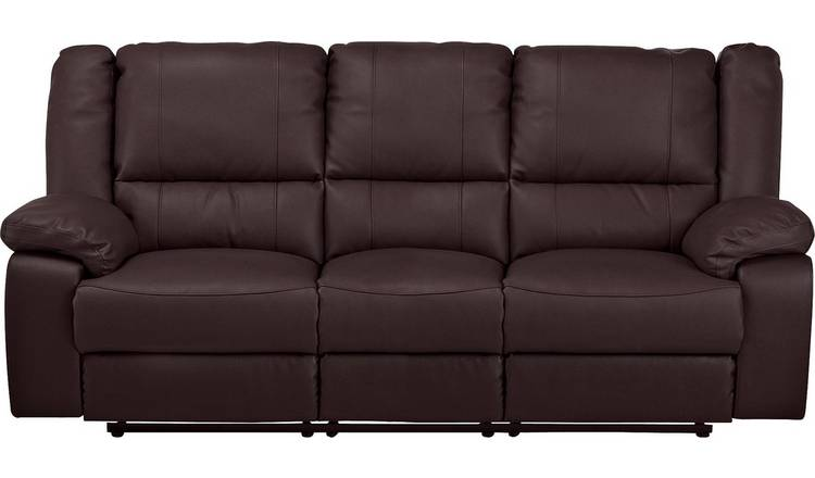 Buy Argos Home Bruno 3 Seater Faux Leather Recliner Sofa - Brown | Sofas |  Argos