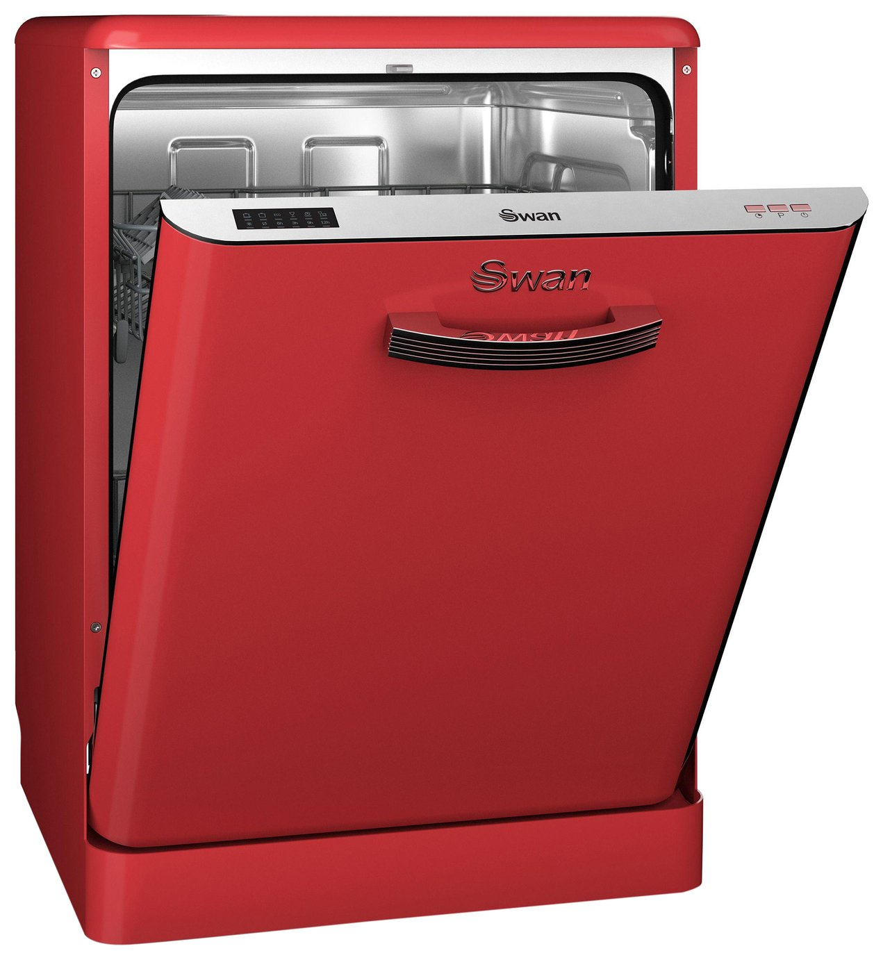 Image of Swan SDW7040RN Retro Dishwasher - Red.