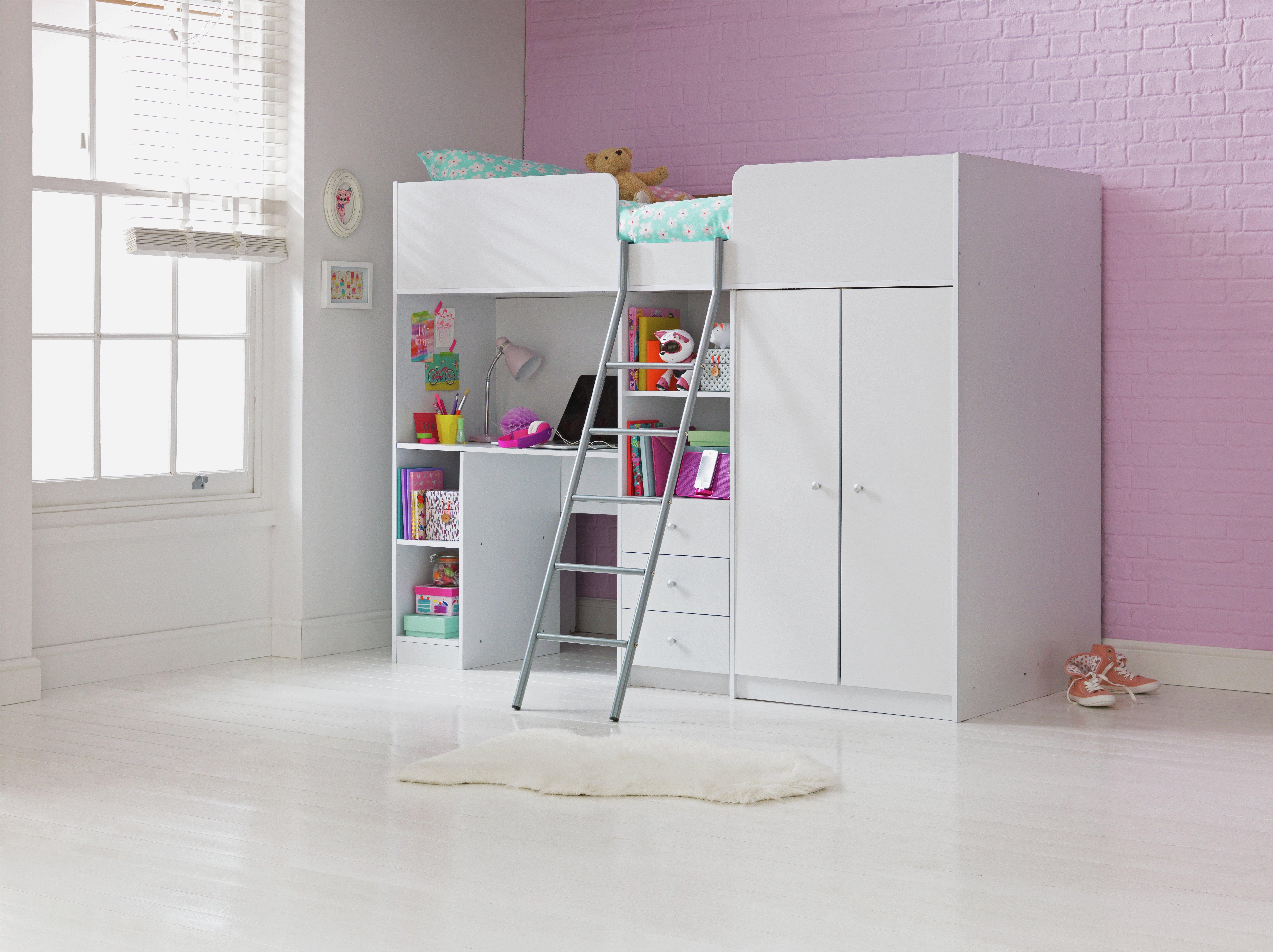 Argos Home Ohio White Single High Sleeper & Kids Mattress