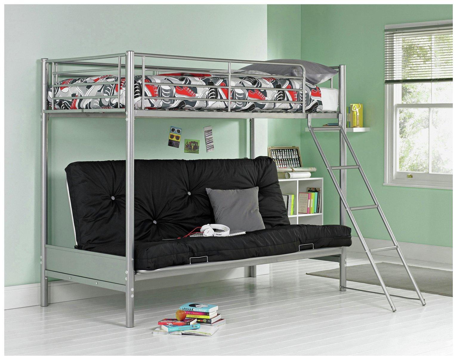 Argos Home Metal Bunk Bed, Black Futon & Kids Mattress