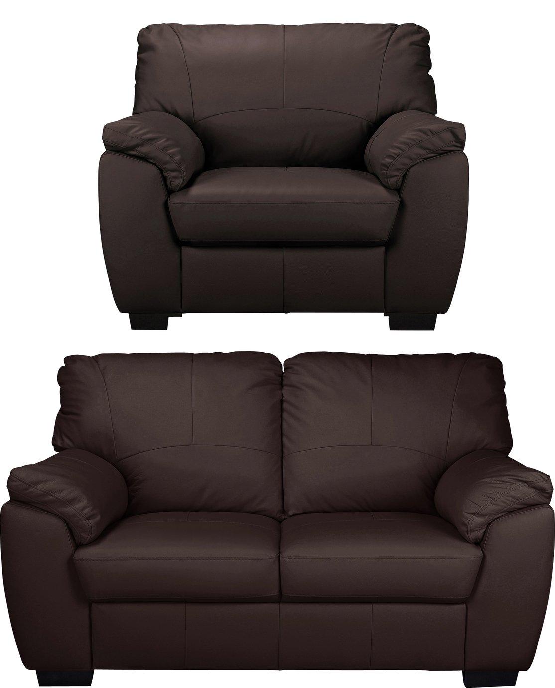 Argos Home Milano Leather Chair & 2 Seater Sofa - Chocolate