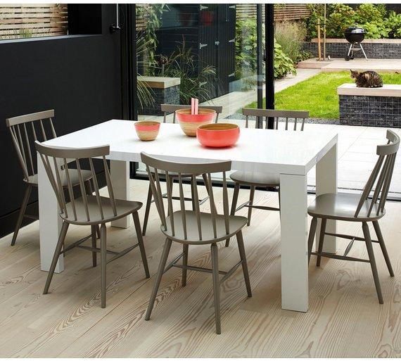 Buy Habitat Asper High Gloss 6 Seater Dining Table