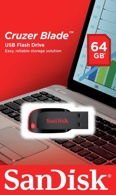 SanDisk Cruzer Blade USB 2.0 Flash Drive - 64GB