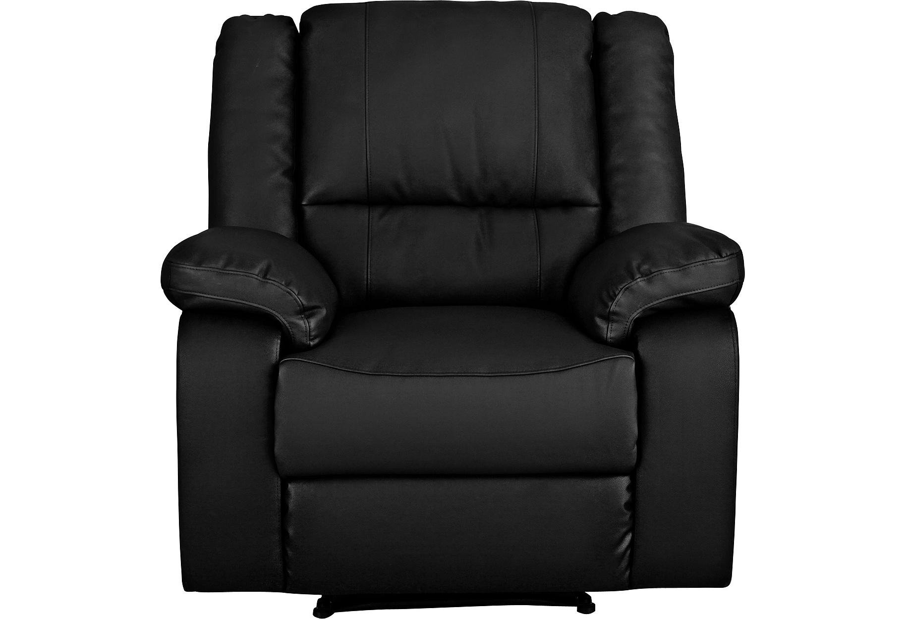 HOME Bruno Leather Effect Manual Recliner Chair - Black