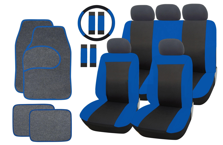 Streetwize Car Seat Cover and Mat Bundle Set - Black/Blue