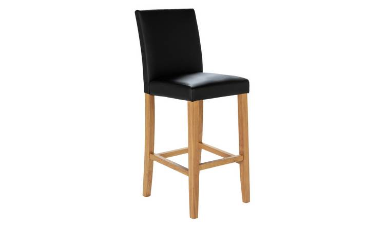 Argos Home Winslow Faux Leather Tall Bar Stool - Black