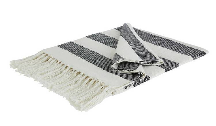 Habitat Neave Stripe Throw - Black