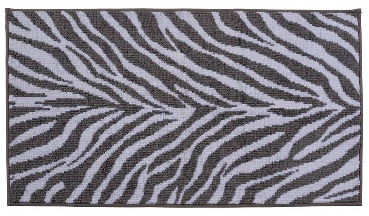 Argos Home Zebra Bath Mat - Grey