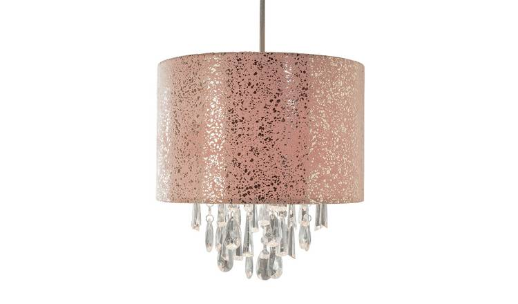 Argos Home Foil & Suede Beaded Shade - Rose Gold