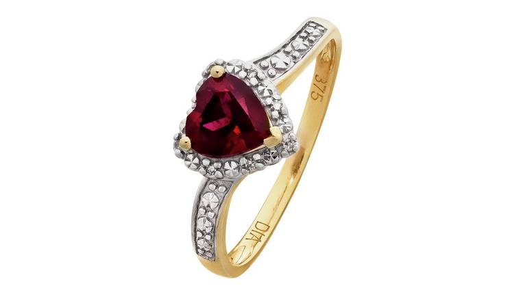 Revere 9ct Gold Ruby and Diamond Accent Heart Ring - V