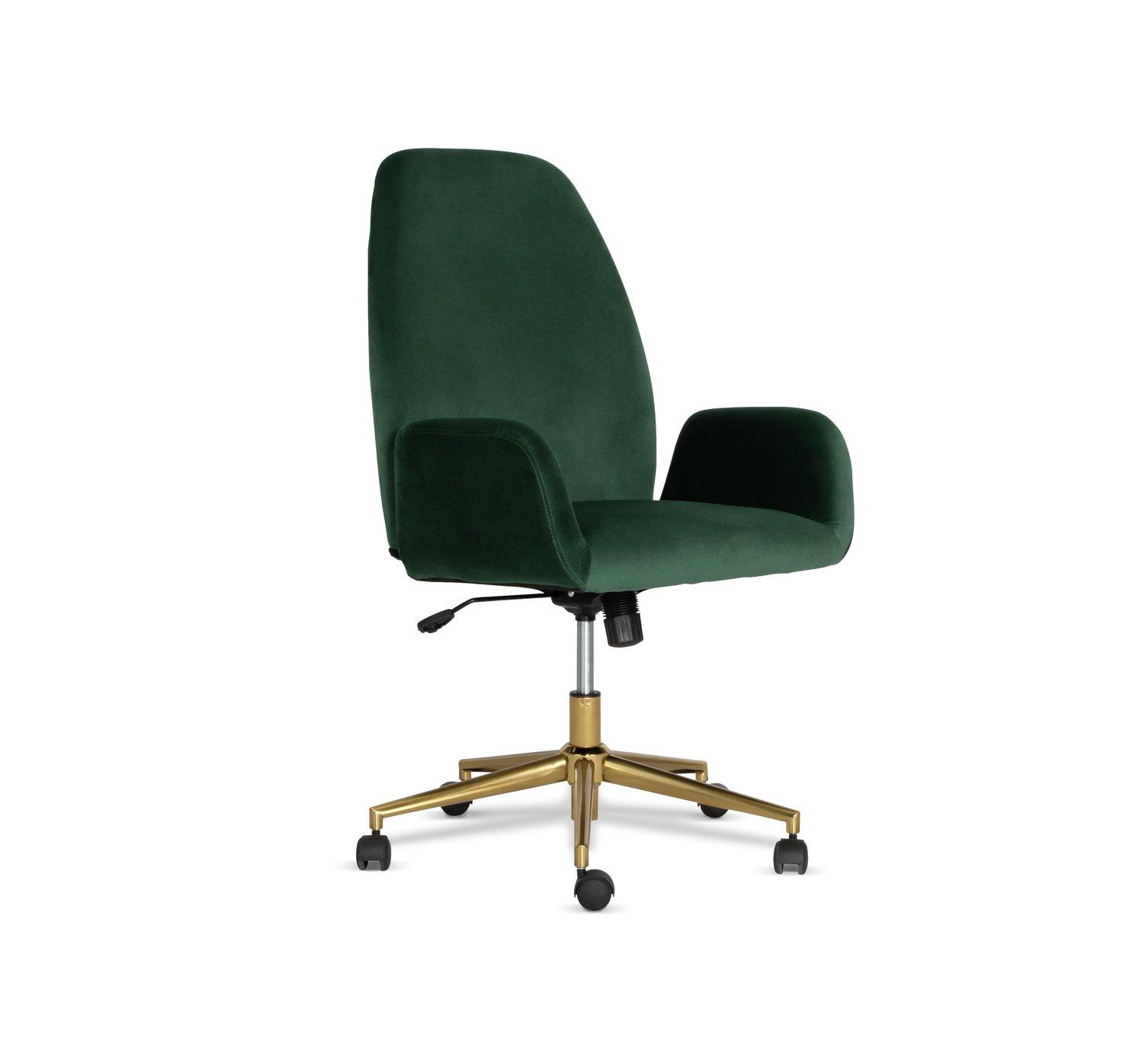 Habitat Clarice Velvet Office Chair - Green