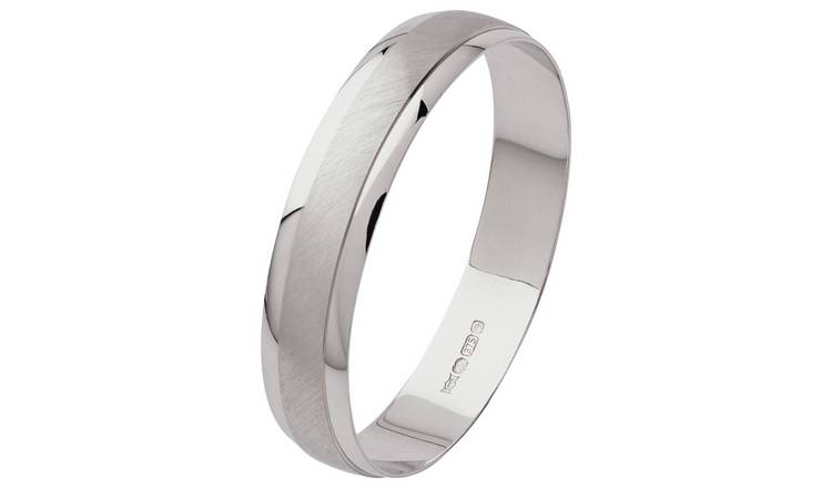 Revere 9ct White Gold Satin Finish Wedding Ring - X