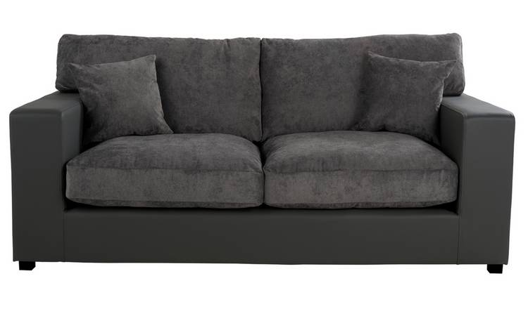 Argos Home Hartley 3 Seater Fabric Sofa - Charcoal