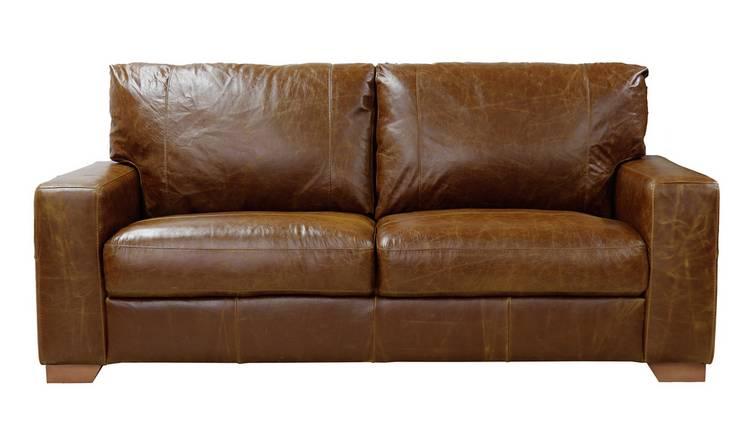 Buy Argos Home Eton 3 Seater Leather Sofa - Tan | Sofas | Argos