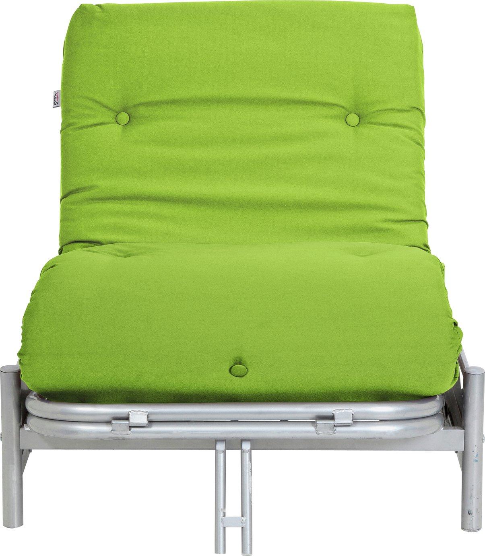 Argos Home Single Futon Metal Sofa Bed with Mattress - Green