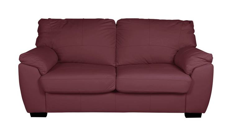 Buy Argos Home Milano 2 Seater Leather Sofa Bed - Burgundy | Sofa beds |  Argos